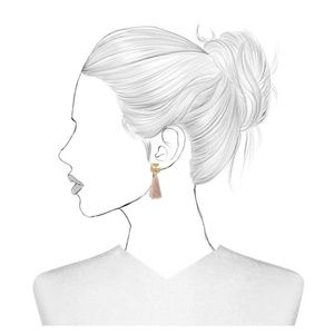BaubleBar | Pink Fanned Tassel Gold Drop Earrings